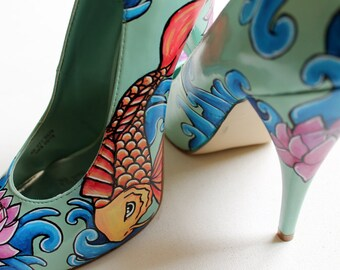 Hand painted Heels - concealed platform court shoes- Killer Koi Heels: Limited Edition - Kezbirdie