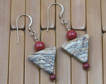 Triangular Picture Jasper and Red Jasper Earrings on Gold Filled Ear Wires, Natural Stone Earrings, Jasper Jewelry, Gift for Her