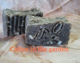 Hand milled coffee in the garden soap