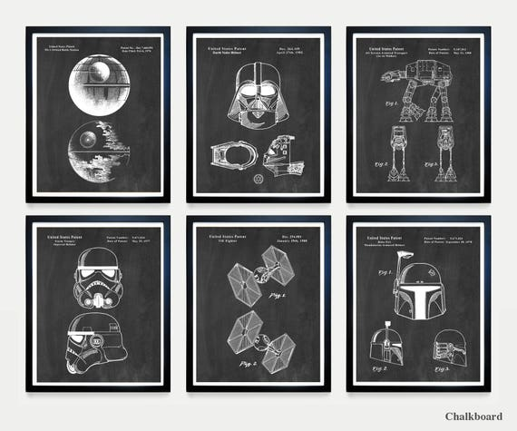 Star Wars Patent Art - The DARK SIDE - Death Star - Darth Vader - Storm Trooper - Star Wars Wall Art - Star Wars Art - Star Wars Poster