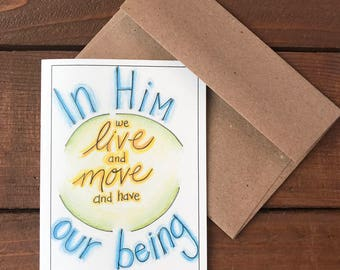 Acts 17:28 - In Him Scripture Card