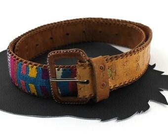 Tobacco Brown Leather Rainbow Braided Southwestern Belt Size 30