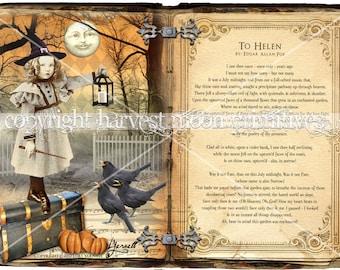Primitive Halloween Cabinet Card - Moonlight Sonata