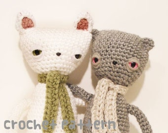 CROCHET PATTERN - Amigurumi Melancholy Cat and Bear - PDF Instant Download - Emo Gift