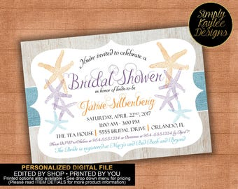 Rustic Beach Bridal Shower Invitation