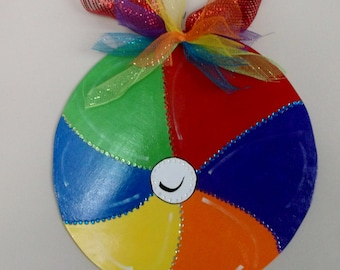Free Shipping! Wooden Beachball, Beachballs. Beach Decor, Home Decor