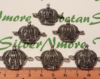 6 pcs per pack 30x20mm Crown Link Antique Silver lead free Pewter.