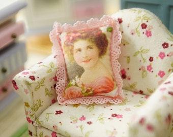 Romantic Victorian Girl & Rose Dollhouse Miniature Pillow 1:12 Scale