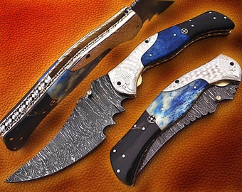 A Newly Design Beautiful Custom Handmade 12 inch Damascus Steel Pocket Knife