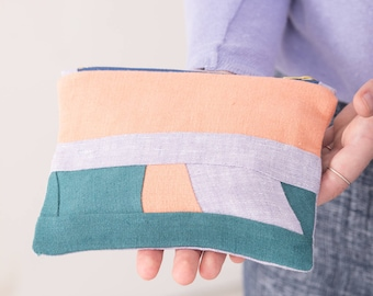 Unique patchwork zip top pouch - Zero waste makeup bag - Eco friendly