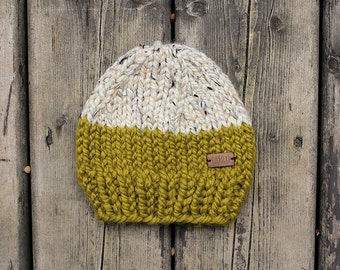Moss green and Heathered oatmeal colorblock chunky knit baby hat