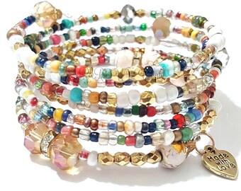 Bohemian Wrap Beaded Bracelet, Beaded Coil Bracelet, Colorful, Stretchy, Boho, Minimalist, Festival, Womens Custom Handmade Beaded Jewelry
