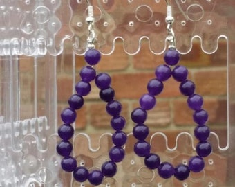 tear drop earrings - Russian amethyst - beaded earrings - gemstone  earrings - purple earrings