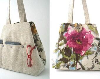 floral handbag, floral tote bag, pink bag, shoulder bag, beige purse, shoulder tote bag, retro bag, womens bag, floral purse