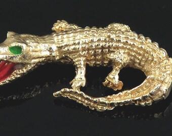 Vintage 14K Yellow Gold & Enamel Realistic Alligator/Crocodile Bracelet Charm