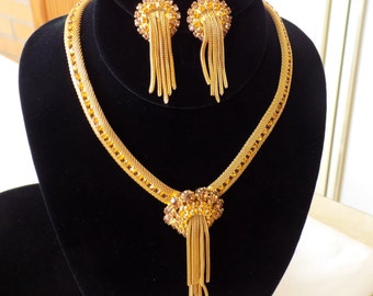 Golden Amber Rhinestone Mesh Necklace and Earring Set Light Topaz Rhinestones, Waterfall Fringe, Vintage Unsigned Hobé