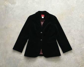 mr leonard black vintage jacket | 80s black velvet jacket women | black fitted blazer women | 1211102