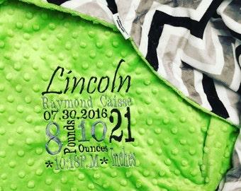 Custom Personalized  Minky Blanket in dimple dot dark lime/chevron black/grey