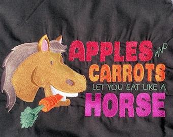 Embroidered Apron, Chef Apron, Horse Apron, Cotton Apron