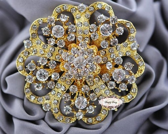 Rhinestone Brooch Component Crystal Flower Gold Embellishment Wedding Brooch Bouquet Cake Hair Comb Shoe Clip Supply RD247