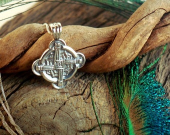 Double Blessing ~ Brigid's Cross & Wings of Poetry ~ Double Sided Sterling Silver Pendant