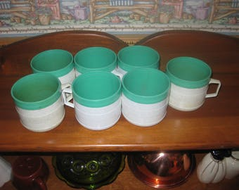 Set of seven Aqua and Gray Fleck Speck  Cornish Therm -o Coffee Cups made in the USA free ship