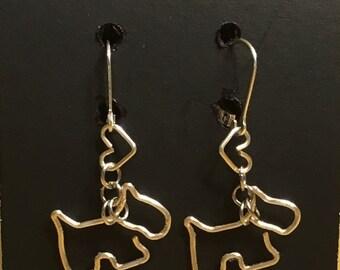 Scottie dog & heart wire earrings, with 925 sterling silver leverback ear wires