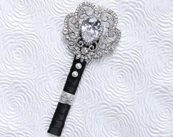 Crystal Silver Brooch Boutonniere Groom Groomsmen Prom Mens Boutonniere Pin Glam Old Hollywood Wedding Rhinestone Accessories