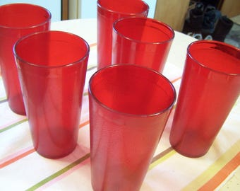6 RED 1970's Texanware Textured Plastic Tumblers/Drinking Glasses, Texas Ware