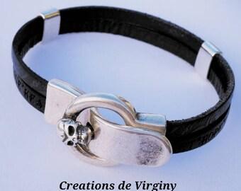 Black leather mens bracelet