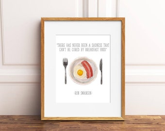 There Has Never Been a Sadness Print, Parks and Recreation Quote Sign, Bacon and Eggs Illustration, Ron Swanson Breakfast Printable, 8x10