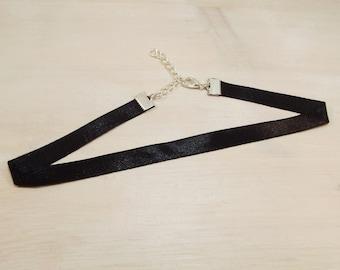 Black Satin Choker Necklace - FREE UK SHIPPING -