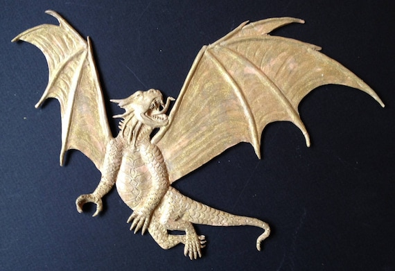 Bas relief sculpted Dragon wall art