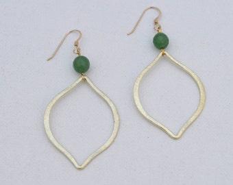 Beaded Drop Dangle Large Marquise Gemstone Earrings // Black Onyx Green Jade Ruby Red Jade // Gold Filled Sterling Silver / Bridesmaids Gift