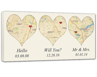 Heart Shaped Map Canvas Art with your 3 location, Heart Map, Custom Wedding Gift, Anniversary Gift, Custom Map