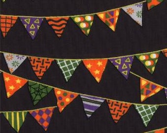 Pumpkin Party Bat Black Banners by Deb Strain for Moda