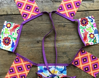 Mexican Banner Folklorico Tribal Aztec Style Reversible Birds Flowers
