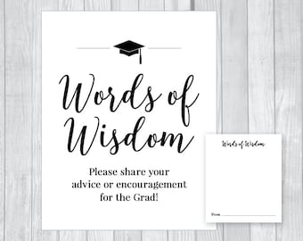 Words of Wisdom 8x10 Graduation Party Printable Sign and Matching Advice Cards - Class of 2018 - High School or College - Instant Download