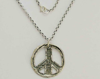 Peace necklace, Simple necklace, casual necklace, sterling silver necklace, peace charm pendant, peace pendant - Make love not war N4554A