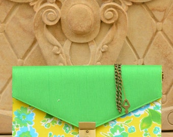 GREEN COTTON CLUTCH