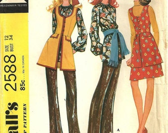 2588 McCall's Vest Pants Blouse Skirt sz 12 year 1970