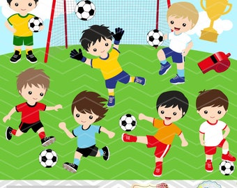 Instant Download Soccer Boy Digital Clipart, Soccer Boys Clip Art, Digital Soccer Team Clipart, Soccer Clip Art, Sport Clipart 0256