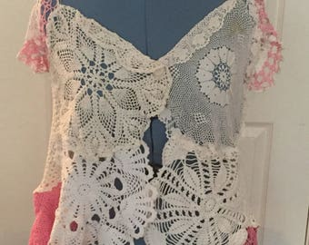 Vintage Pink & White Doily Vest made by hand