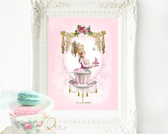 Marie Antoinette printable, teacup, pink macarons, wall art, printable gift, Instant Download 8x10, 5x7, Personal use only