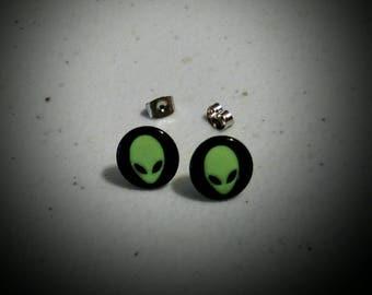 Alien earrings~ black and green alien stainless steel stud earrings