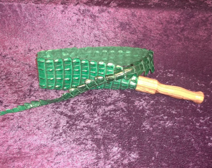 Beautiful Green Genuine Nile Crocodile Snapper with a Hand Turned Zebra Wood Handle!