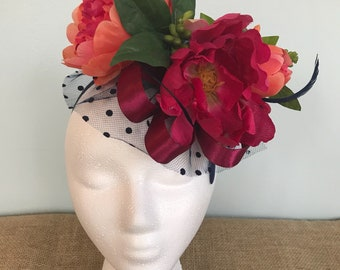 Kentucky Derby Hat Alternative, Floral Fascinator, Derby Hat, Derby Fascinator, Fancy Headpiece, Russian Veil