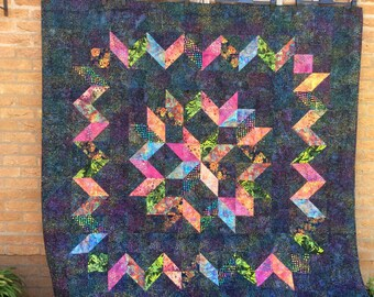 Batik Carpenters Wheel Quilt.Star Quilt.Handmade Quilt.Home Decor.Unique.Housewarming Gift.Rainbow Quilt.Carpenters Wheel Quilt.Bedding