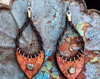 Horse Hair and Leather Earrings with Horsehair - Watercolor - Rust and Brown Leather - Boho Inspired