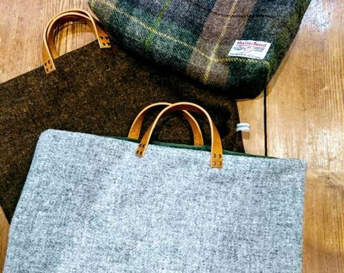 Hand Crafted Harris Tweed bag with real leather handles